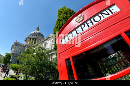 London, England, UK. Traditional red telephone box by St Paul's Cathedral - Stock Photo