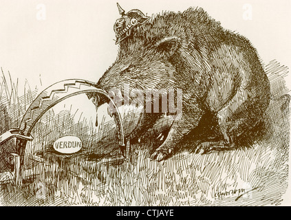 English propaganda picture showing a boar representing the German army, with his nose caught in a trap. Battle of - Stock Photo
