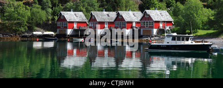 Row of houses in the harbour of Flam town, Aurlandsfjorden Fjord, Sogn Og Fjordane region of Norway, Scandinavia, - Stock Photo
