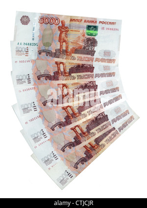 banknotes 5000 Russian rubles - Stock Photo