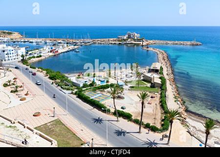 Sea bay and embankment in the city of Monastir, on the Mediterranean Sea, Tunisia. Summer season - Stock Photo