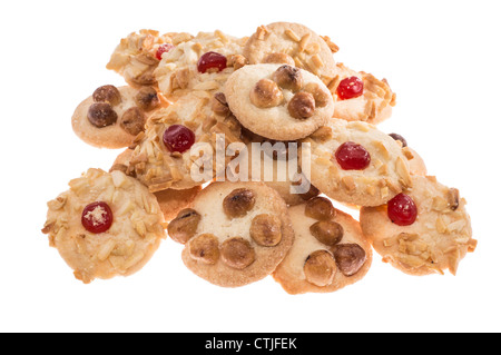 Heap with mixed Cookies isolated on white - Stock Photo