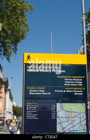 direction board outside the natural history museum on exhibition road, south kensington, london, england - Stock Photo