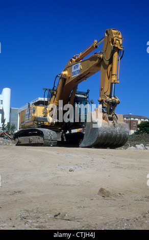 Liebherr-360 Excavator Machine stationary upon a building site in Northern England. - Stock Photo