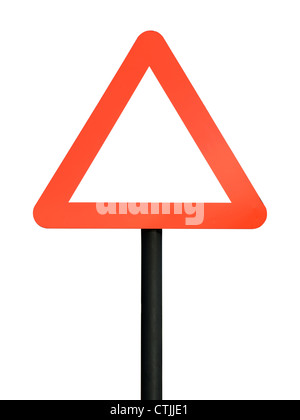 Red blank triangular road sign - Stock Photo