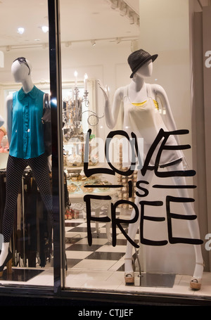 Los Angeles, California - A sign in a women's clothing store on Hollywood Boulevard in Hollywood. - Stock Photo