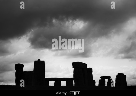 Abstract image of the Stonehenge in Classic Black and White - Stock Photo