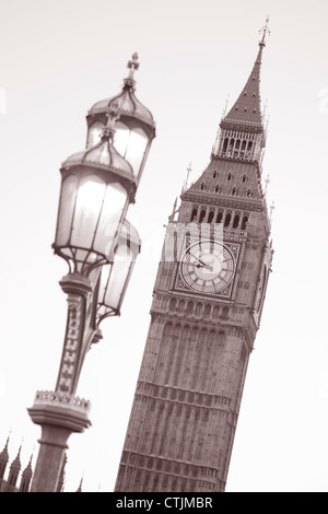 Big Ben and Lamppost, London in Black and White Sepia Tone - Stock Photo