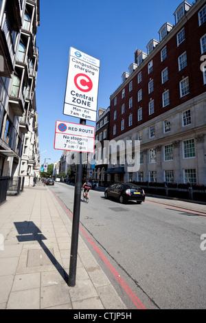 Congestion charge zone sign, London, England, UK - Stock Photo