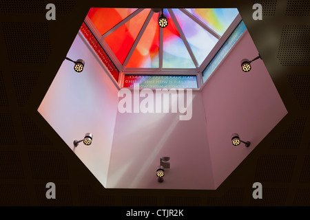 Stained Glass roof lantern in St Mary's Church in Alton - Stock Photo