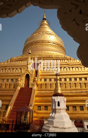 Shwezigon Pagoda (Paya) - a Buddhist temple located in Nyaung U, Myanmar (Burma). - Stock Photo