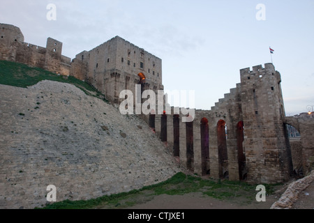 The Citadel of Aleppo, medieval fortified palace in the centre of the old city of Aleppo, northern Syria. - Stock Photo