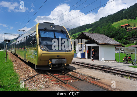 Arrival of a local train at Boden, in the Simme Valley, Switzerland - Stock Photo