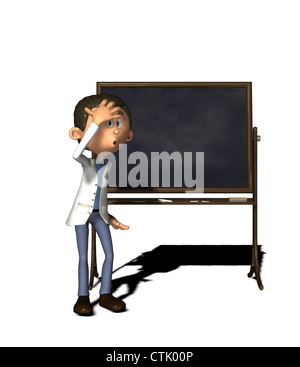 cartoon figure chemist with board - Stock Photo