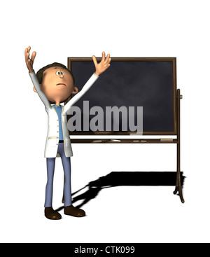 cartoon figure chemist with board - Stock Photo