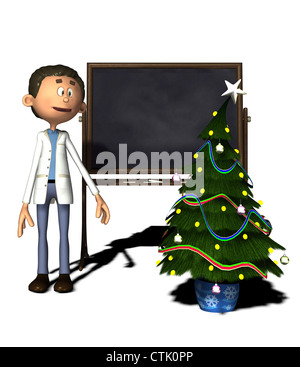 cartoon figure chemist with board and Christmas tree - Stock Photo