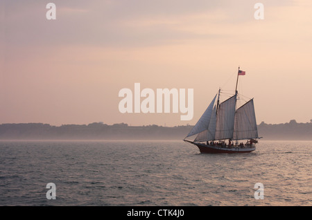 The Red Witch wooden sailboat was built in 1986 on Lake Michigan USA - Stock Photo