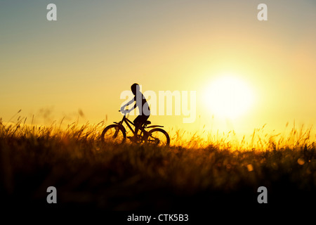 Boy riding a bicycle through grass at sunset. Silhouette. UK - Stock Photo