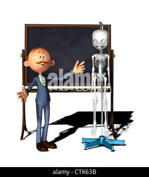 cartoon figure teacher with board with skeleton - Stock Photo