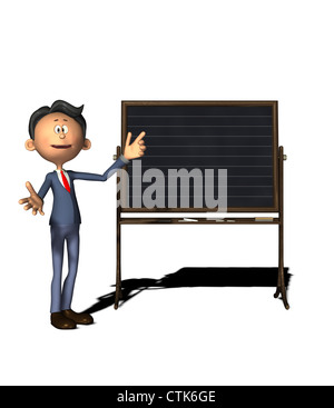 cartoon figure teacher with board - Stock Photo