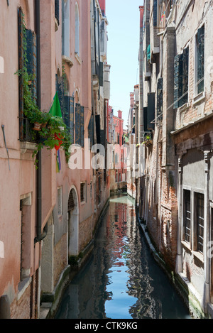 View of a Side Canal off the Grand Canal Venice Italy - Stock Photo