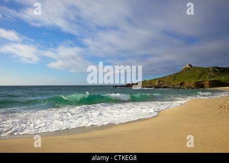 Summer evening sunshine on Porthmeor beach, St Ives, Cornwall, Southwest England, UK, GB, Europe - Stock Photo