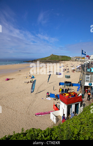 Summer sunshine on Porthmeor beach, St Ives, Cornwall, Southwest England, UK, GB, Europe - Stock Photo