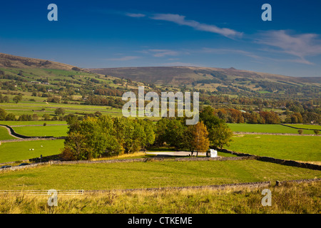 Looking east along the Hope Valley towards Win Hill from above Castleton in Peak District National Park Derbyshire - Stock Photo
