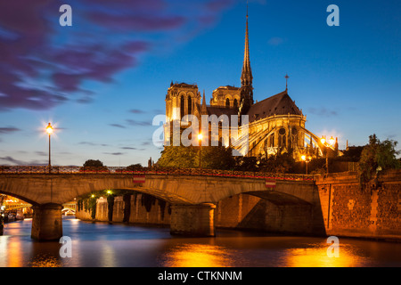 Twilight over Cathedral Notre Dame and River Seine, Paris France - Stock Photo
