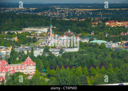 Aerial view from helium balloon at Lake Disney on Sleeping Beauty Castle and Disneyland Park, Disneyland Resort - Stock Photo