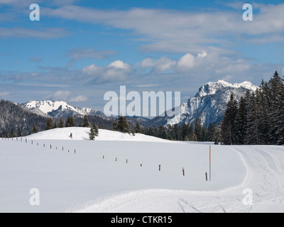 Panorama of snow-covered mountains and forest on the border between Germany and Austria in Bavaria , with ski-track - Stock Photo