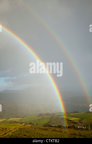 Double Rainbow Over Farmland At Derrynane Harbour Near Caherdaniel; County Kerry, Ireland - Stock Photo