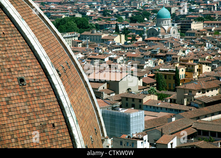 Green cupola of Great Synagogue of Florence, Italy with part of Duomo on left - Stock Photo
