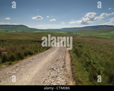 Cam High Road descending towards Ribblehead Viaduct on the Dales Way - Stock Photo