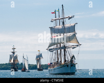 The barquentine Gazela participates in the sailpast in Halifax Harbour, Nova Scotia, during Tall Ships 2012. - Stock Photo