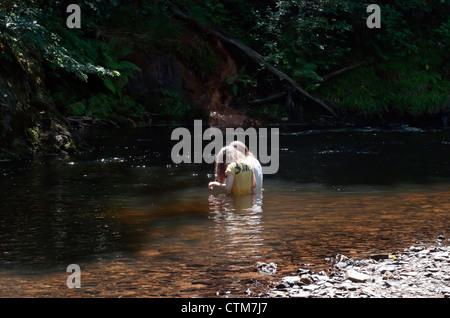 Girls wading in river teign,devon,dartmoor forest, beach, grass, green, grounds, youth,best friends - Stock Photo