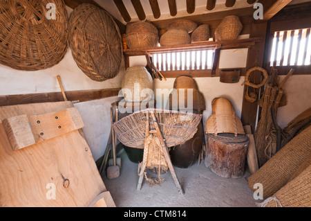 Interior of traditional Korean house's shed for storage, Namsangol Hanok Village, Seoul, Korea - Stock Photo