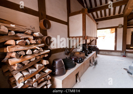 Interior of traditional Korean house's kitchen, Namsangol Hanok Village , Seoul, Korea - Stock Photo