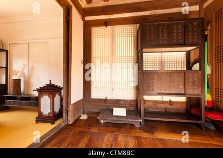 Typical interior of traditional Korean noble man's house, Namsangol Hanok Village, Seoul, Korea - Stock Photo