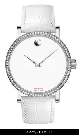 Luxury lady silver wrist watch on leather strap - Stock Photo