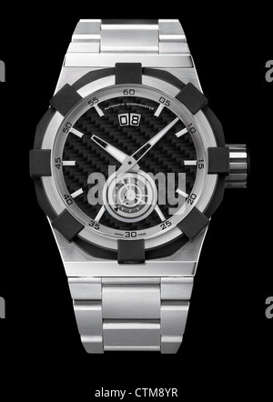 Luxury mens steel wrist watch with steel bracelet - Stock Photo