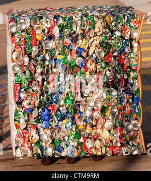 Crushed aluminum cans ready to be recycled, Hong Kong, China. - Stock Photo
