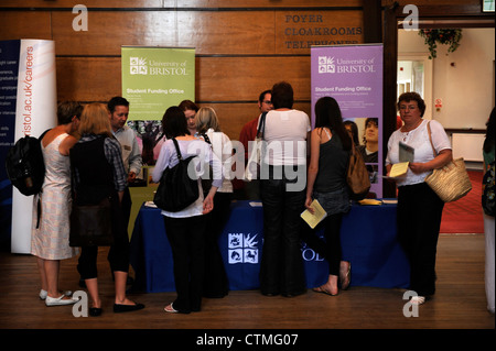 Students and parents visit an open day in Bristol University's Victoria Rooms Building (Music Department) UK - Stock Photo