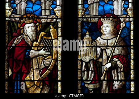 David and Solomon stained glass, St. Lawrence Church, Marston St. Lawrence, Northamptonshire, UK - Stock Photo