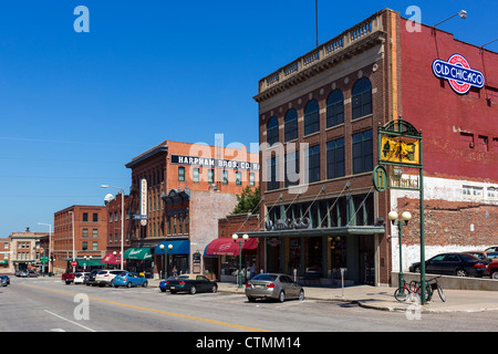 Historic buildings on P Street in the Haymarket district, Lincoln, Nebraska, USA - Stock Photo