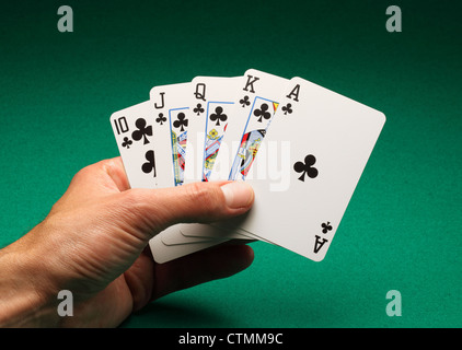 A man's hand holding playing cards on a green table. A Royal Flush of clubs in the game of Poker - Stock Photo