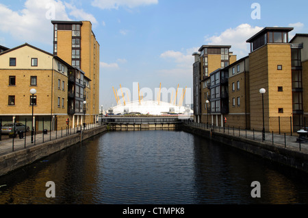The Millennium Dome from Coldharbour - Isle of Dogs, London -  England - Stock Photo