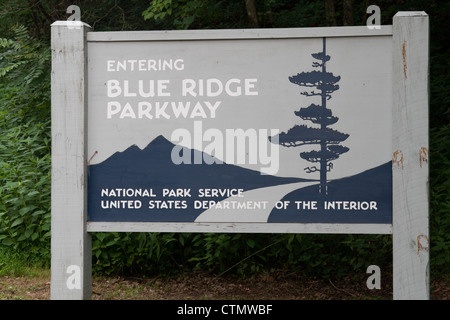 Blue Ridge Parkway Sign at the Southern End of the Parkway in North Carolina - Stock Photo
