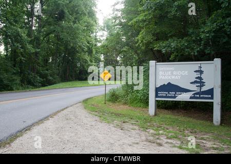 Southern end of the Blue Ridge Parkway, North Carolina, USA - Stock Photo