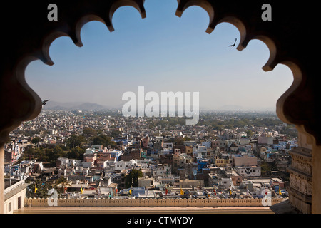 City view from palace, Udaipur, Rajasthan, India - Stock Photo